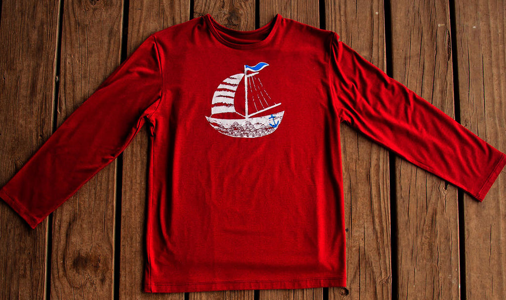 Boys Sun Protective Shirt-Sailboat Deep Crimson