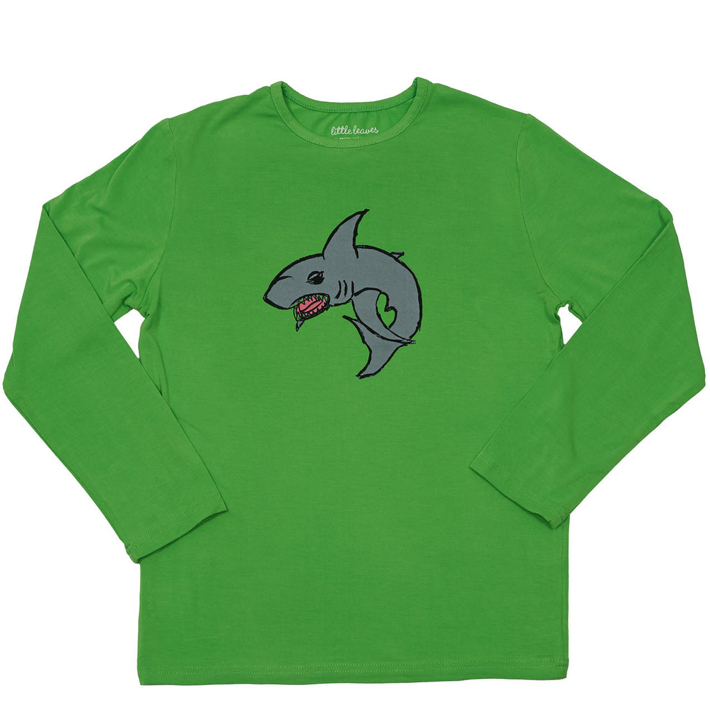 boys sun protective shirt green shark graphic