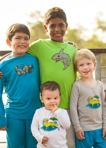 boys upf shirt green shark graphic