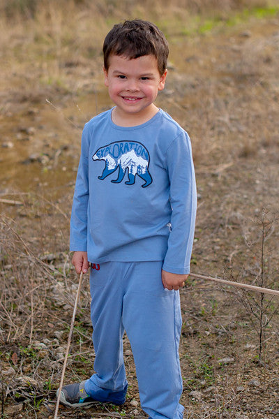 Toddler Sun Protective Shirt-Explore Cobalt Blue Gray - Little Leaves Clothing Company