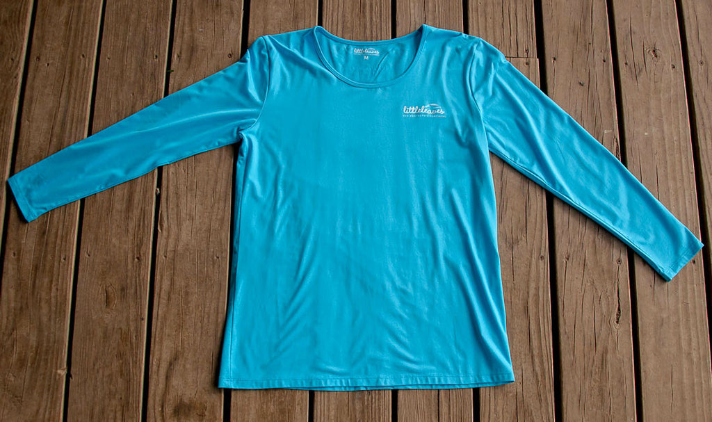 Womens Sun Protective Shirt-Brilliant Cerulean Blue