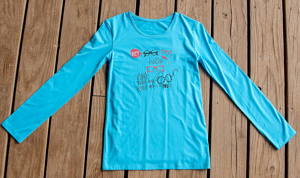 Womens Sun Protective Shirt-Graphic  Brilliant Cerulean Blue - Little Leaves Clothing Company
