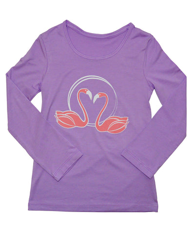 Girls Sun Protective Shirt-Spring Tree Mulberry Purple Gray