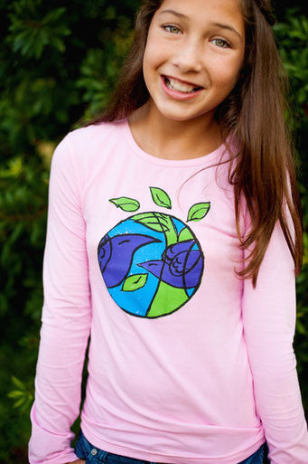 Girls Sun Protective Shirt-Spring Birds  Pink - Little Leaves Clothing Company