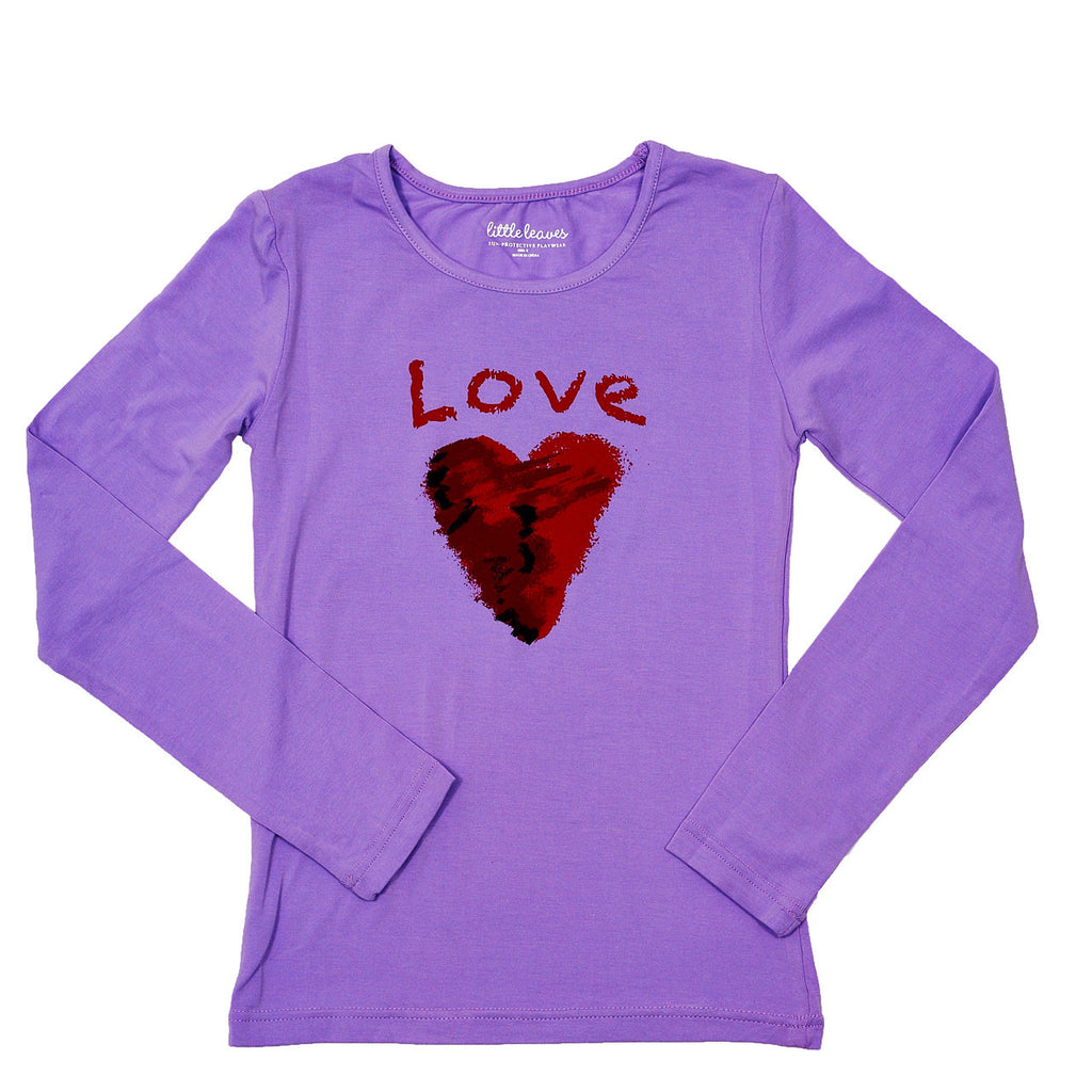 Girls Sun Protective Shirt-Love Purple - Little Leaves Clothing Company