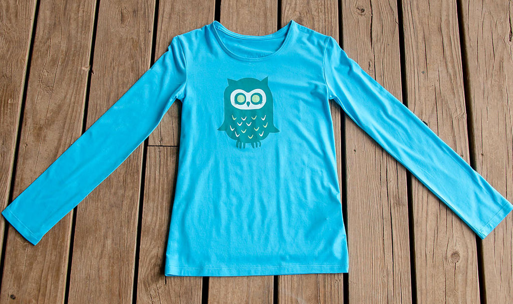 Girls Sun Protective Shirt-Owl Brilliant Cerulean Blue