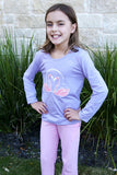 Girls Sun Protective Shirt-Flamingo Mulberry Purple Gray - Little Leaves Clothing Company