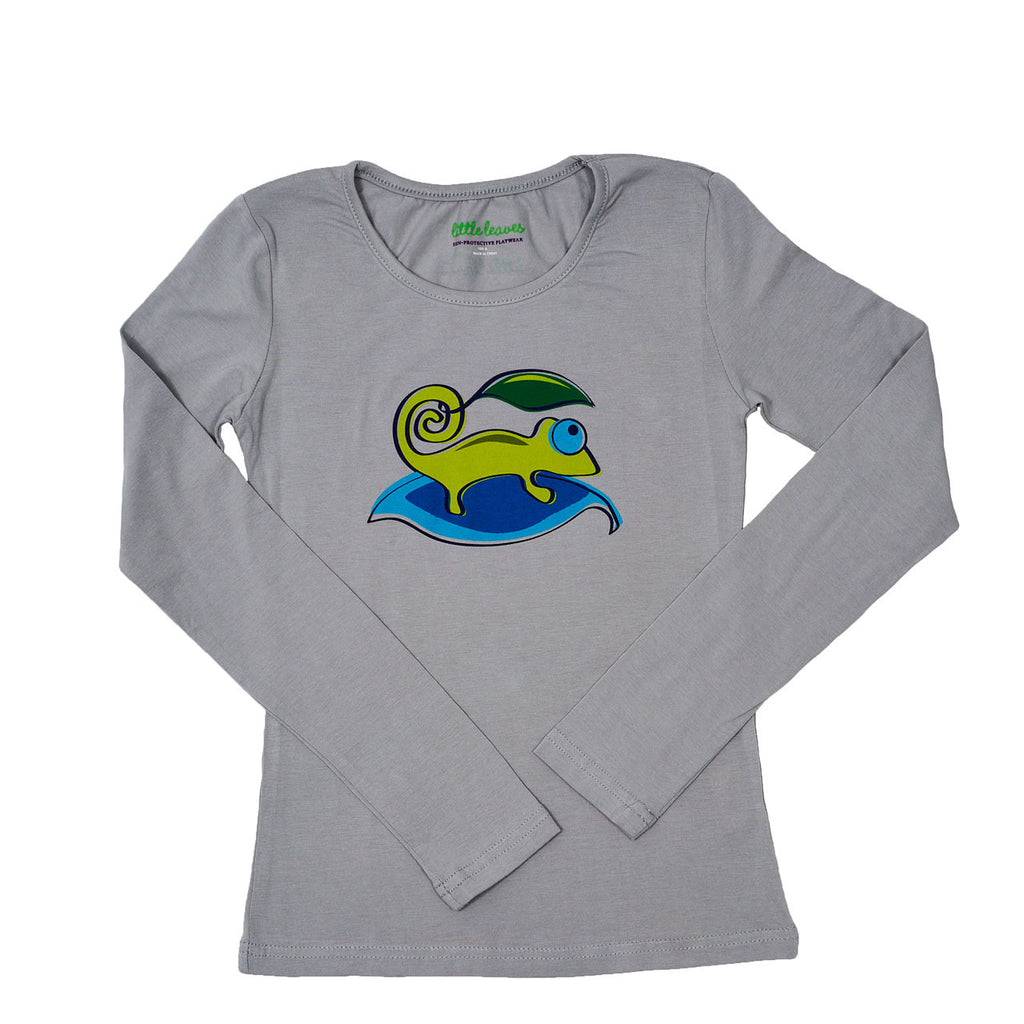 Girls Sun Protective Shirt-Chameleon Gray - Little Leaves Clothing Company
