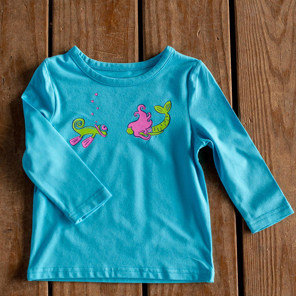Infant Toddler Sun Protective Shirt-Mermaid Brilliant Cerulean Blue