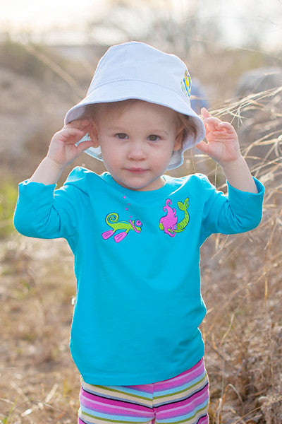 Infant Toddler Sun Protective Shirt-Mermaid Brilliant Cerulean Blue - Little Leaves Clothing Company