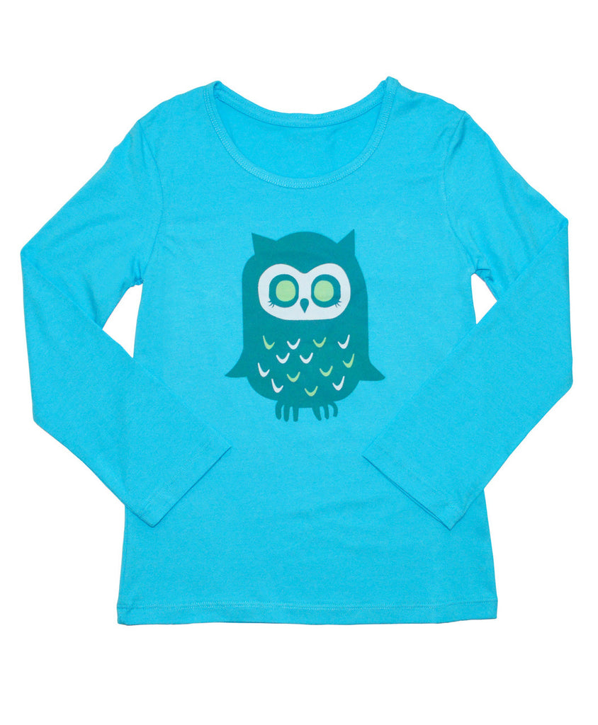 girls sun protective clothing shirt blue owl graphic