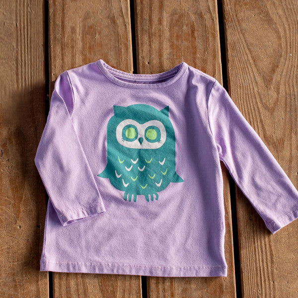 Infant Toddler Sun Protective Shirt-Owl Mulberry Purple Gray