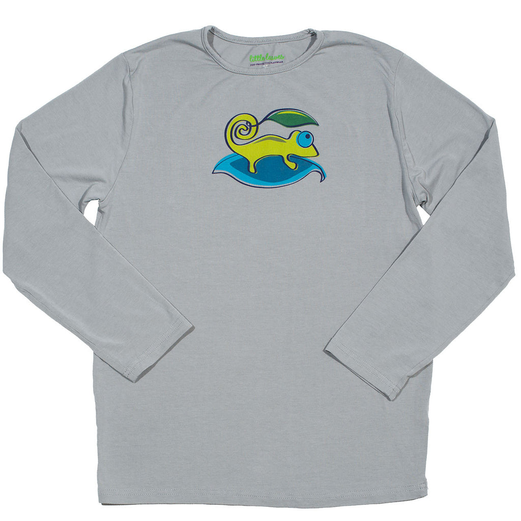 boys sun protective shirt gray chameleon graphic