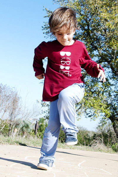 Boys Sun Protective Shirt-Sunglasses Deep Crimson - Little Leaves Clothing Company
