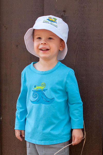 Infant Toddler Sun Protective Shirt-Surfing Brilliant Cerulean Blue - Little Leaves Clothing Company