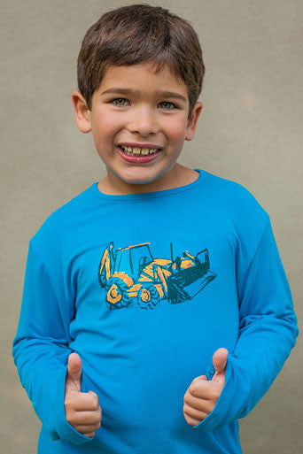 boys upf shirt blue bulldozer graphic