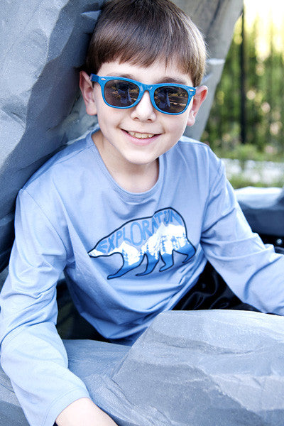 Boys Sun Protective Shirt-Explore Cobalt Blue Gray - Little Leaves Clothing Company