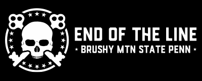 Skull and Keys - End of the Line at Brushy Mountain State Pen - White text on black sticker