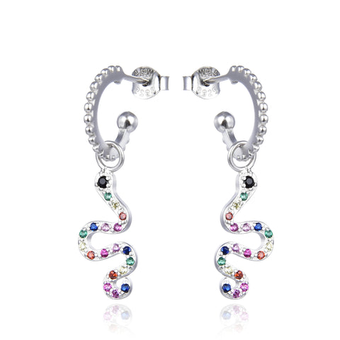 Colorful snake hoop earrings