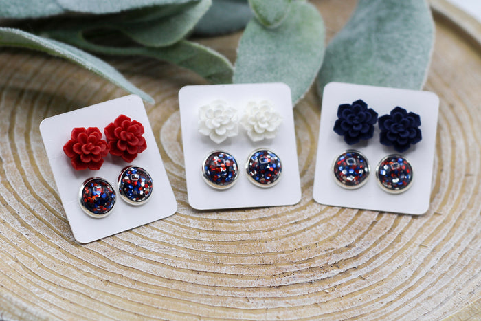 4th Of July Succulent Duo Earrings