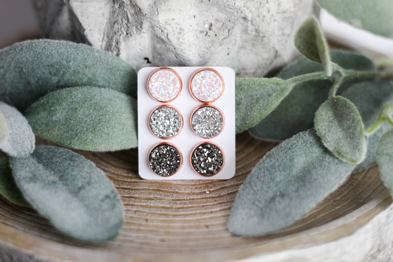 Silver Rush In Rose Gold Triple Earring Set