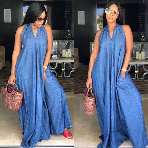 Alexandria Denim Halter Maxi (all Sizes)
