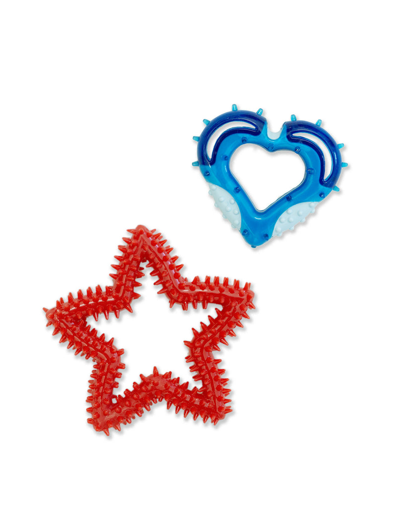 2-Pack Spiked Dental Heart & Star Chew Toy