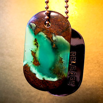 "Talisman in Polka Dot Agate with Chrysoprase and Copper ""BALANCE"" Stamped Goddess Tag"