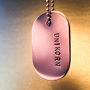 "Copy of Talisman of Flourite and ""UNIKORN"" Stamped in Copper Goddess Tag Necklace"