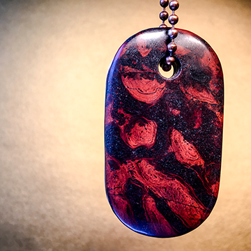 "Talisman of Stromatolite (Petrified Algae) and Copper ""Source"" Stamped Goddess Tag Necklace dog tag crystal pendant"