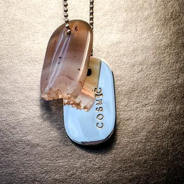 "Talisman of Picasso-Marble (Picasso Stone) and Scratched Steel ""NOT IN MY NAME"" Stamped Goddess Tag Necklace"