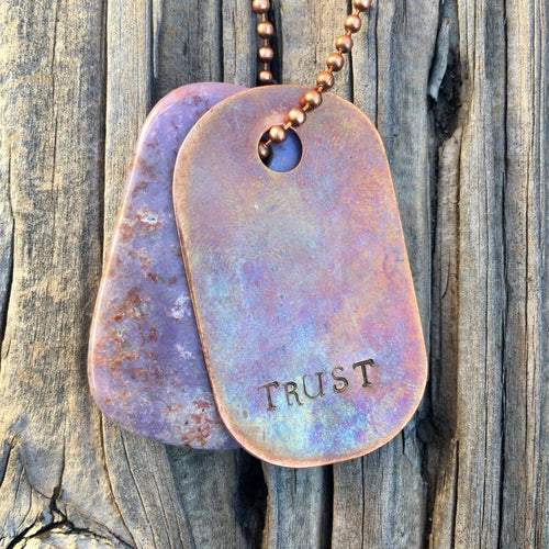 "00003 Talisman Purple Agate and Copper ""Trust"" Goddess Tag Necklace"