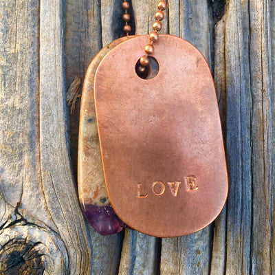 "00004 Amethyst Crystal and Copper ""Love"" Stamped Goddess Tag Necklace"