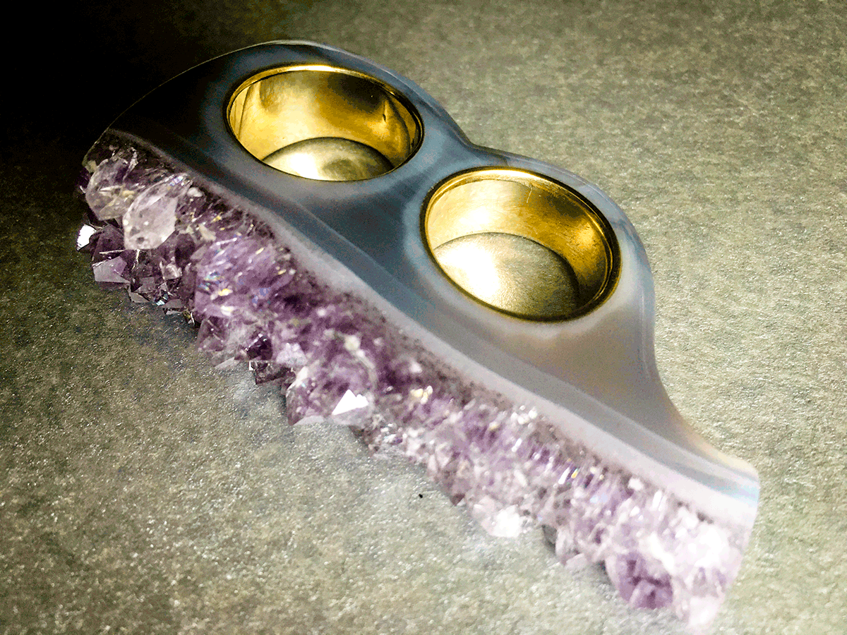 Crystal Knuckles in Amethyst & Gold