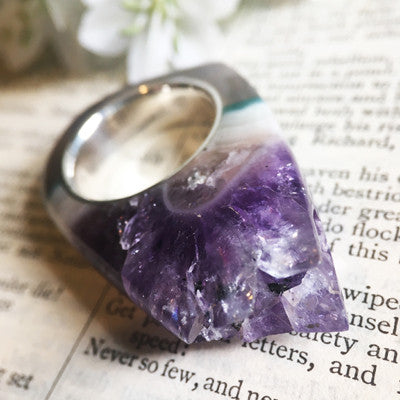 Medium Amethyst Crystal Point - Power & Protection Ring