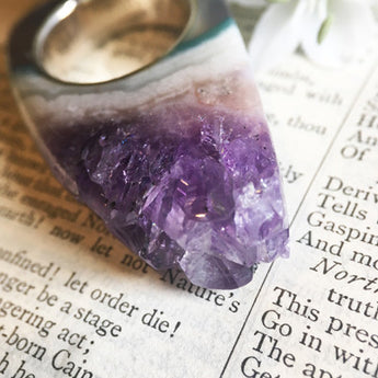 Tall Amethyst Crystal Point Power & Protection Ring