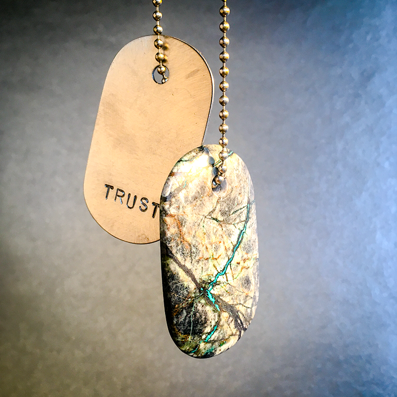 "Talisman of Azurite and Malachite in Matrix with ""TRUST"" Stamped in Scratched Steel Goddess Tag Necklace"