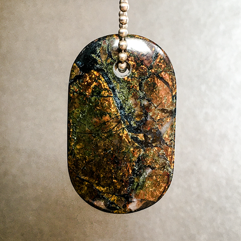 "Talisman of Stone Jasper and Silver ""Rooted"" Stamped Goddess Tag Necklace"
