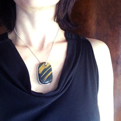 "Blue Tigers Eye and Silver ""Divine"" Goddess Tag Necklace"
