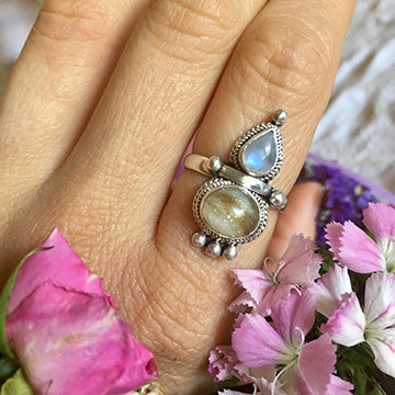 Custom Breastmilk Keepsake Goddess Ring - in Crystal and with choice of 5 stones