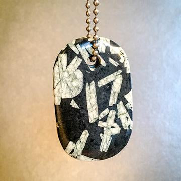 "Talisman of Chinese Writing Stone and Steel ""INTUIT"" Goddess Tag Necklace Crystal Dog Tag Pendant"