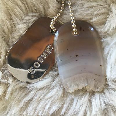 "Talisman of Agate with Quartz Crystal and Silver ""COSMIC"" Stamped Goddess Tag Necklace"