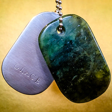 "00018 Talisman of Jade and Steel ""GRACE"" Stamped Goddess Tag Necklace"