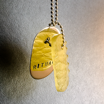"Talisman of Yellow Glass with Neolithic technology Flintknapping and Silver ""RITUAL"" Stamped Goddess Tag Necklace"