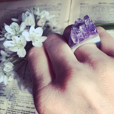 Amethyst Crystal Point - Power & Protection Ring Size 6.5