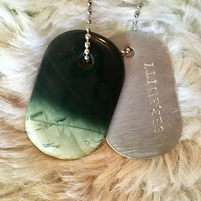 "Talisman in Green Jasper and Steel ""Serenity"" Goddess Tag Necklace"