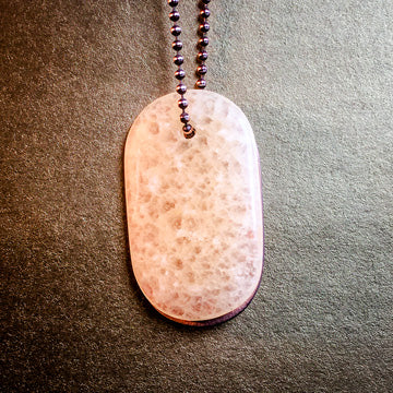 "Talisman of Honeycomb Calcite and ""LOVE"" Stamped in Copper Goddess Tag Necklace crystal dog tag pendant"