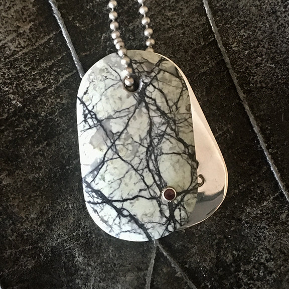 Talisman of Howlite and Garnet Jewel with Sterling Silver Custom Stamped Goddess Tag boho dog tag couture