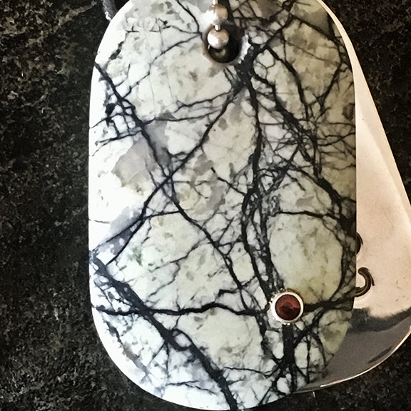Talisman of Howlite and Garnet with Silver Custom Stamped Goddess Tag Necklace