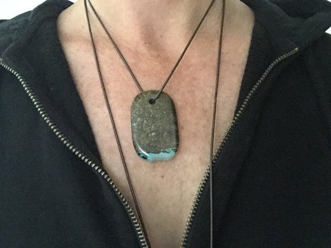 "00001 Talisman Iridescent Shamanite (Black Calcite) with Druzy and Sterling Silver ""FEARLESS"" Goddess Tag Necklace"